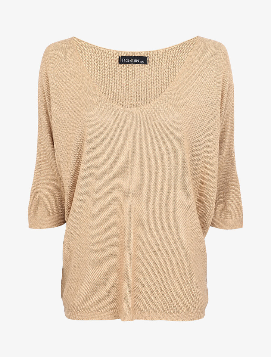 Pull loose en maille fine à manches 3/4 - beige image number null