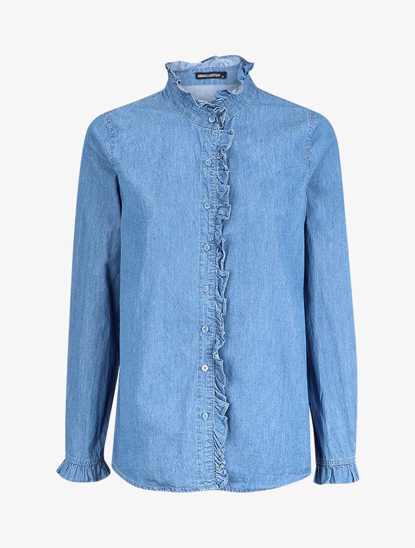 Chemise en jean volantée - bleu denim image number null