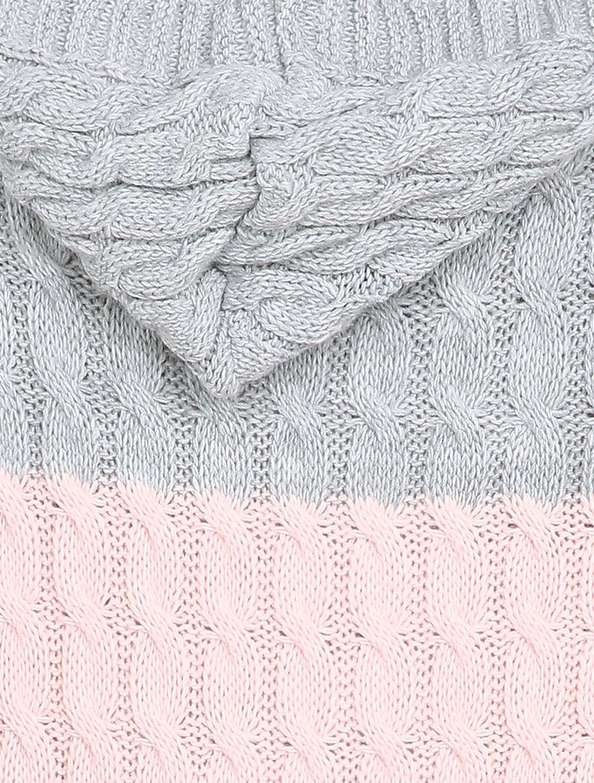 Gilet mi-long à capuche en maille tressée rayée - rose image number null