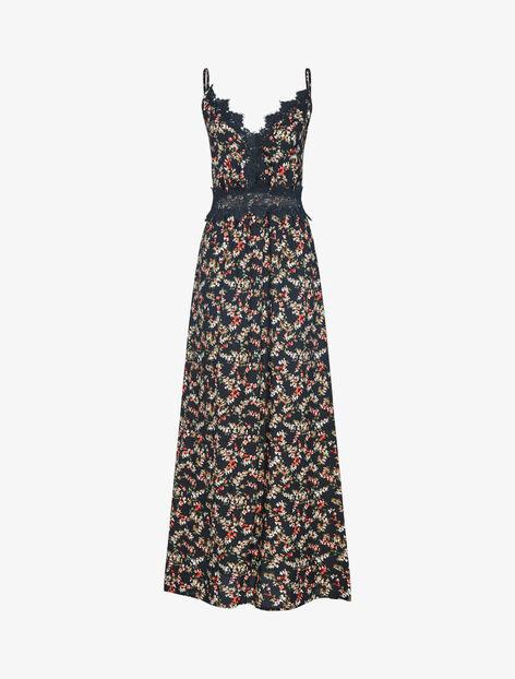 Robe fleurie à détails crochet - noir