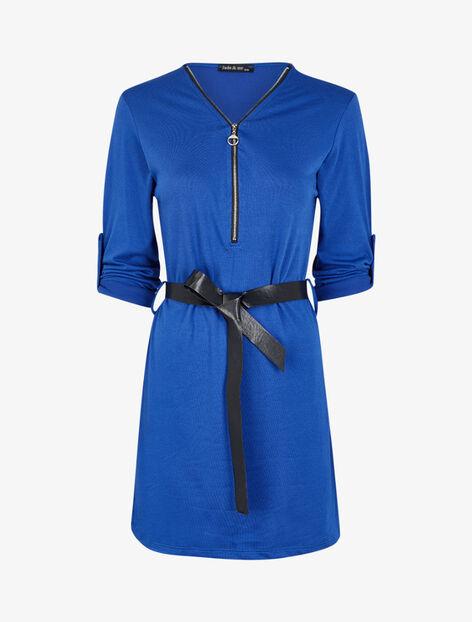 Robe à col V zippé et manches longues retroussables