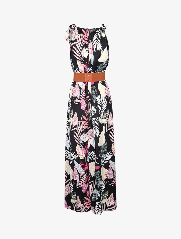 Robe longue satinée à imprimé tropical - noir image number null