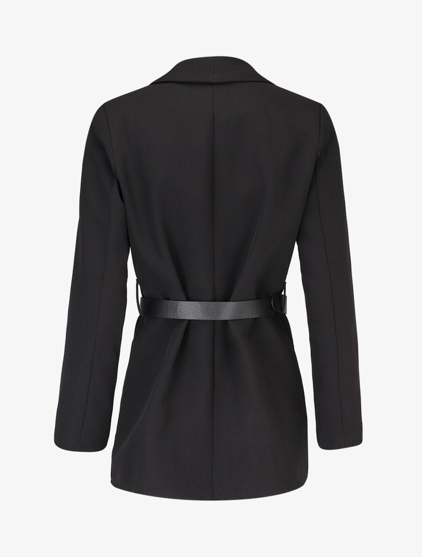 Veste à ceinture contrastante - noir image number null