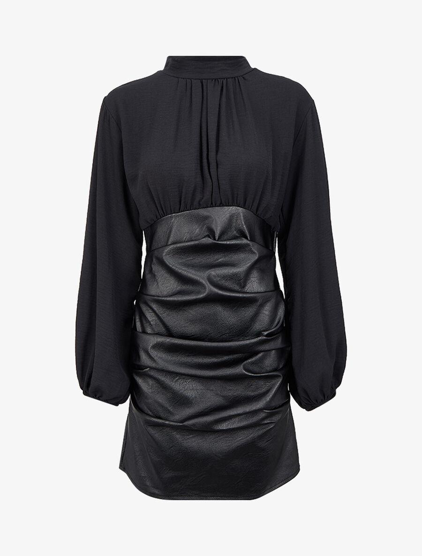 Robe bi-matière drapée à col montant - noir image number null